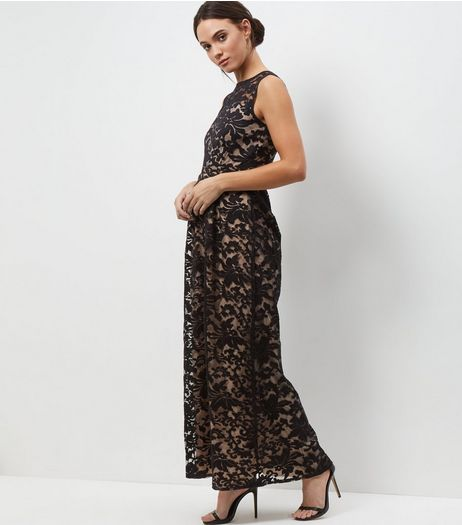 Mela Black Floral Lace Embroidered Overlay Maxi Dress | New Look