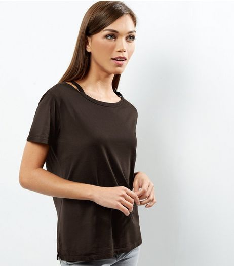 Black Symmetric Ripped Neck T-Shirt  | New Look