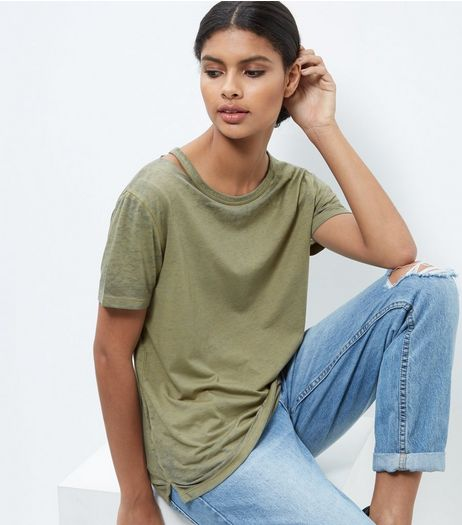 Olive Green Symmetric Ripped Neck T-Shirt  | New Look