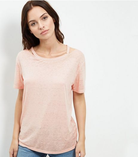 Mid Pink Symmetric Ripped Neck T-Shirt  | New Look