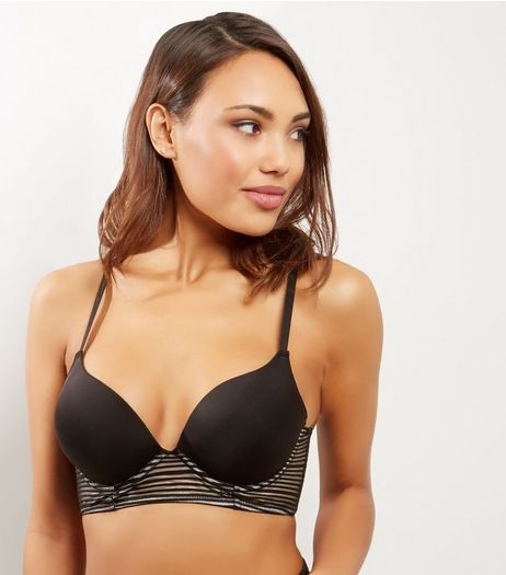 Black Micro Stripe Longline Bra | New Look