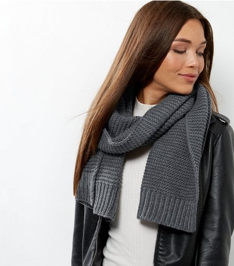 Dark Grey Ribbed Scarf | New Look