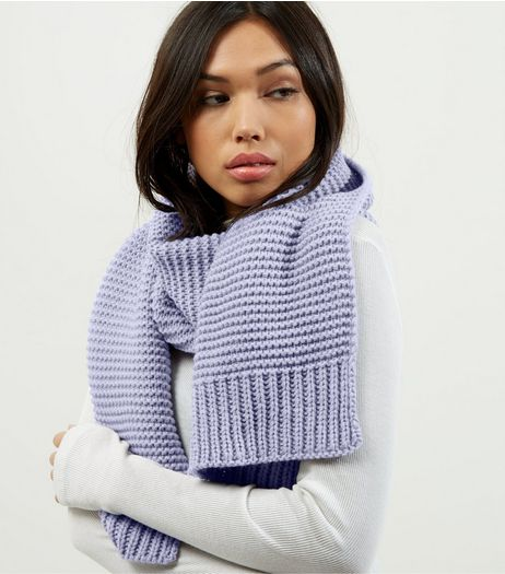 Lilac Ribbed Knitted Scarf | New Look