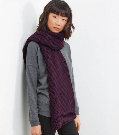 Purple Ribbed Knitted Scarf | New Look