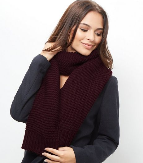 Burgundy Knitted Scarf | New Look