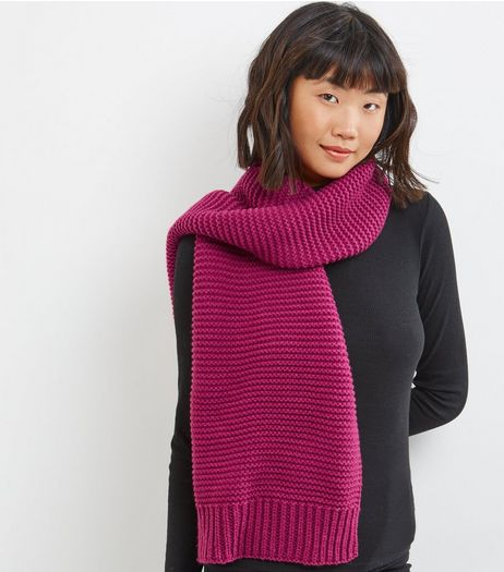 Pink Ribbed Knitted Scarf | New Look