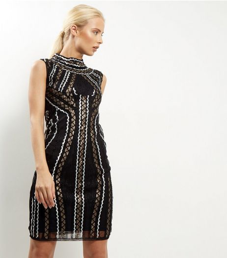 Mela Black Funnel Neck Bead Embellished Dress | New Look