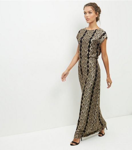 Mela Bronze Lace Maxi Dress  | New Look