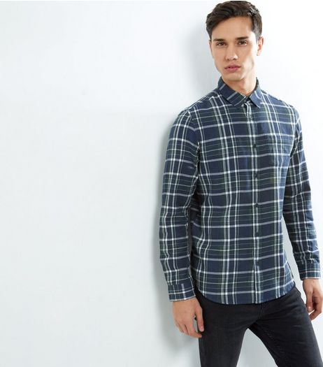Navy Check Cotton Long Sleeve Shirt | New Look