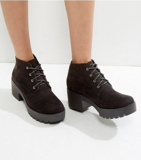 Wide Fit Black Suedette Lace Up Boots | New Look