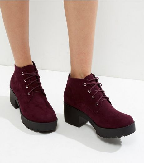 Wide Fit Burgundy Suedette Lace Up Heels | New Look