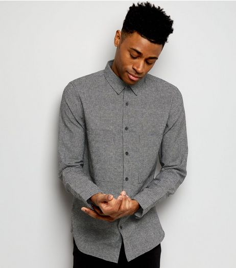 Dark Grey Woven Pocket Front Long Sleeve Shirt | New Look