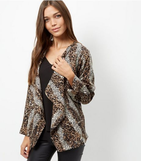 Mela Brown Animal Print Waterfall Jacket  | New Look