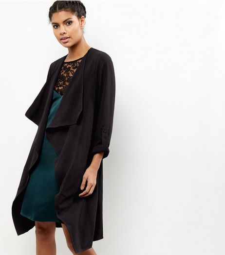 Black Waterfall Duster Coat | New Look