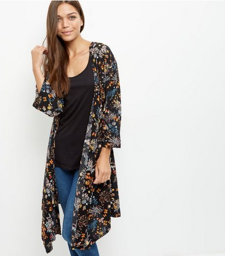 Mela Black Floral Print Duster Jacket | New Look