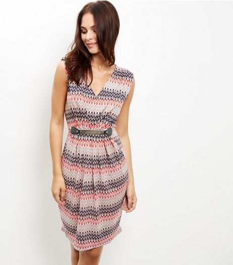 Mela Pink Aztec Print Belted Dress | New Look