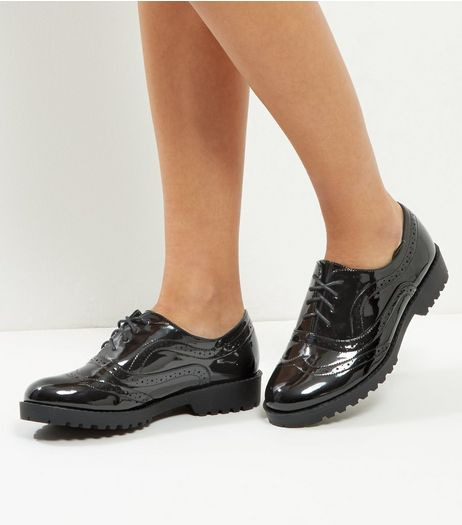 Black Patent Lace Up Brogues | New Look