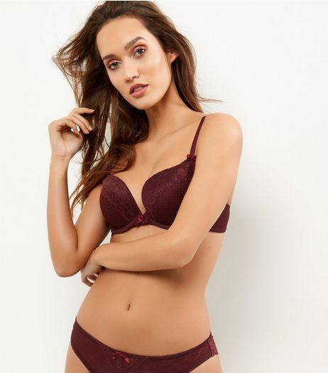 Burgundy Geometric Mesh And Lace Push Up Bra | New Look