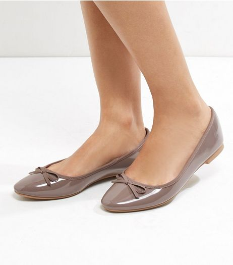 Wide Fit Mink Patent Ballet Pumps | New Look