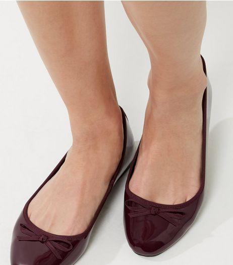 Wide Fit Burgundy Patent Ballet Pumps | New Look
