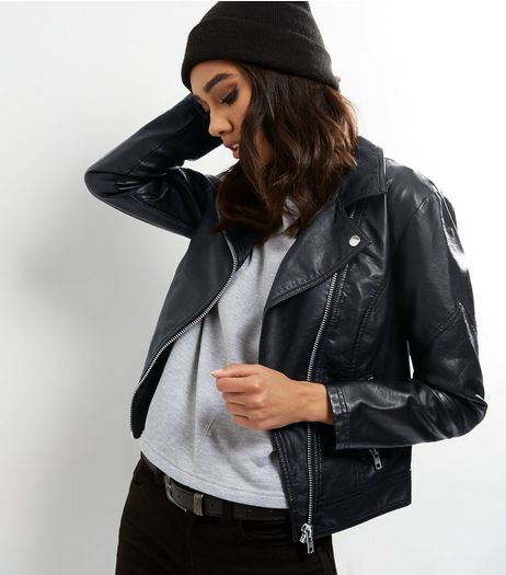 Petite Black Leather-Look Biker Jacket | New Look