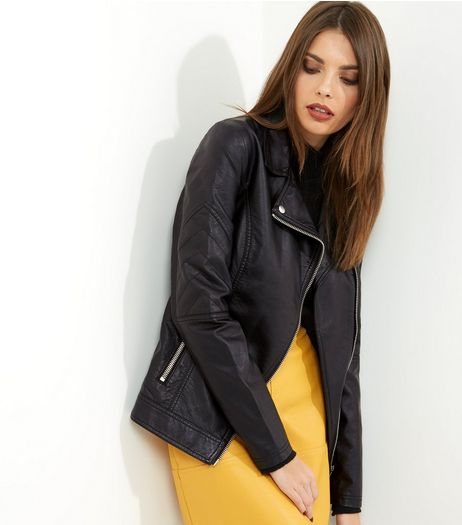 Tall Black Leather-Look Biker Jacket | New Look