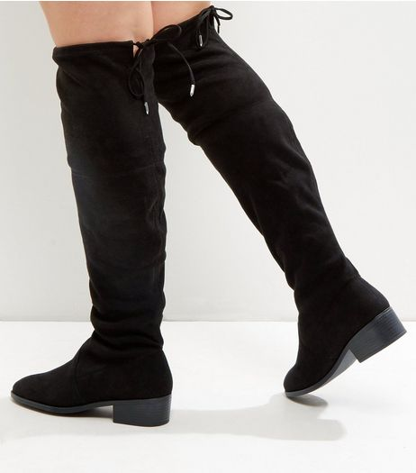 Wide Fit Black Suedette Tie Up Over The Knee Boots | New Look