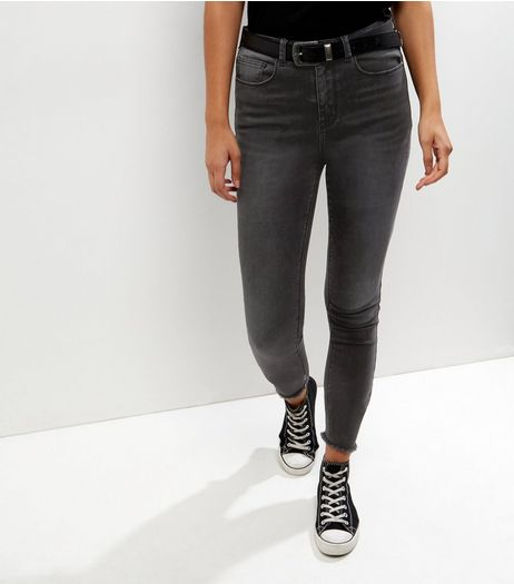 Tall Black Washed Fray Hem Skinny Jeans | New Look