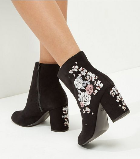 Wide Fit Black Suedette Embroidered Block Heel Boots | New Look