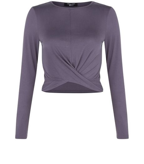 Teens Grey Knot Front Top  | New Look