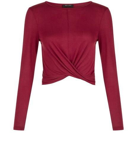 Teens Burgundy Knot Front Top | New Look