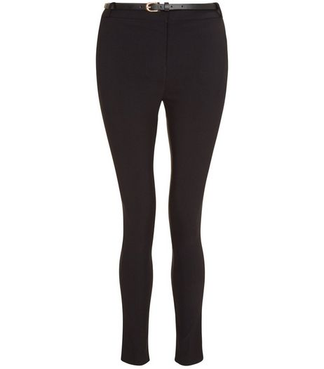 Teens Black Belted Skinny Trousers | New Look