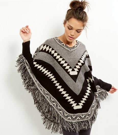 Mela Black V Neck Abstract Print Tassel Hem Poncho  | New Look