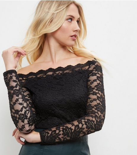 Black Lace Scallop Hem Bardot Neck Top | New Look