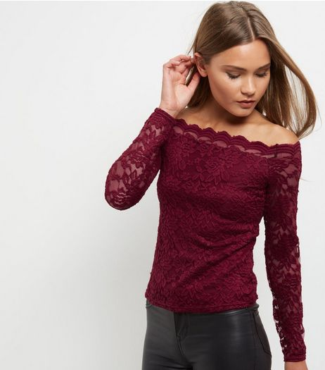 Burgundy Lace Scallop Hem Bardot Neck Top | New Look