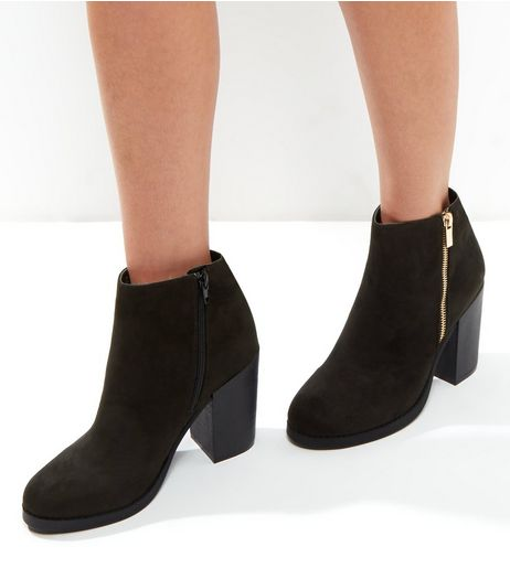 Wide Fit Black Suedette Gold Zip Block Heel Boots | New Look