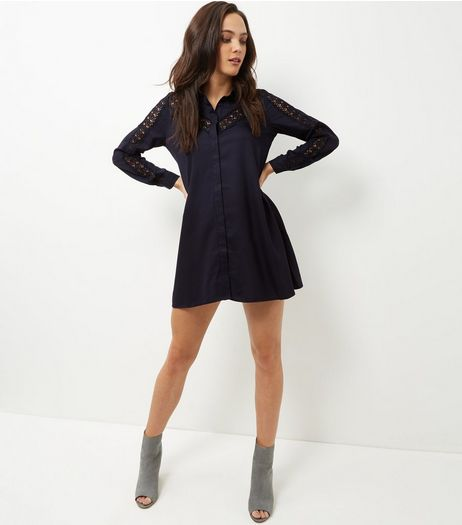 Mela Navy Lace Panel Shirt Dress | New Look