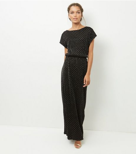 Mela Black Spot Print Maxi Dress | New Look