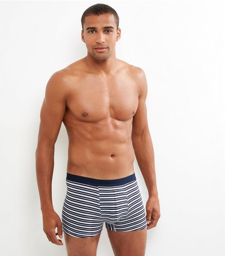 3 Pack Brown Navy and Red Stripe Trunks  | New Look