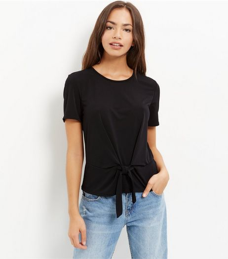 Black Tie Front T-Shirt  | New Look