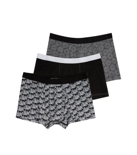 3 Pack Black Geo Print Trunks | New Look
