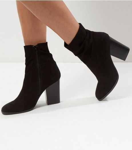 Wide Fit Black Suedette Ankle Boots | New Look