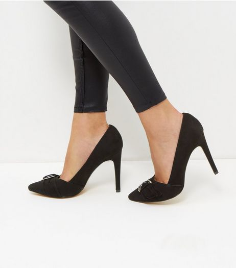 Black Buckle Court Shoes | New Look