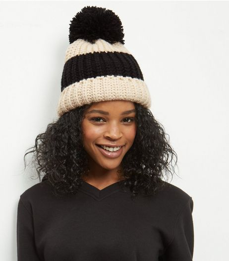 Monochrome Stripe Bobble Hat  | New Look