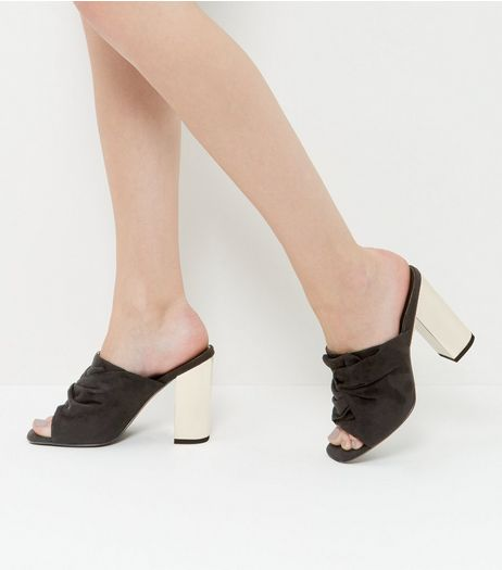 Black Suedette Knotted Block Heel Mules  | New Look