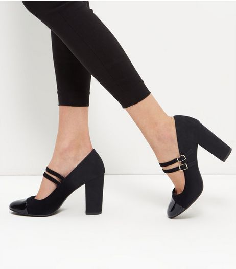 Black Suedette Double Strap Block Heel Court Shoes | New Look