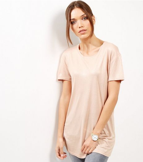 Mid Pink Foil Boyfriend T-Shirt | New Look