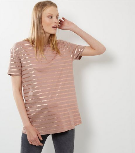 Mink Stripe Metallic T-Shirt  | New Look
