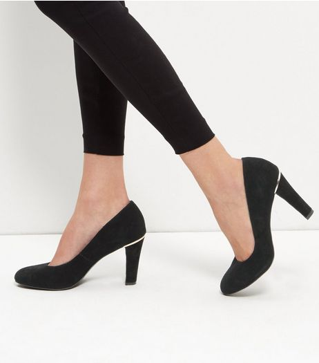 Black Leather Court Shoes | New Look