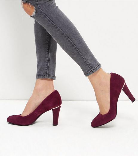 Dark Red Suede Court Shoes | New Look